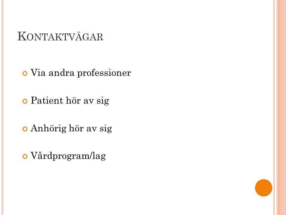 K ONTAKTVÄGAR Via andra professioner Patient hör av sig Anhörig hör av sig Vårdprogram/lag