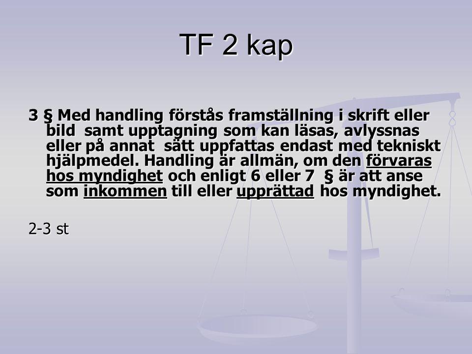 TF 2 kap 3 § Med handling förstås framställning i skrift eller bild samt upptagning som kan läsas, avlyssnas eller på annat sätt uppfattas endast med