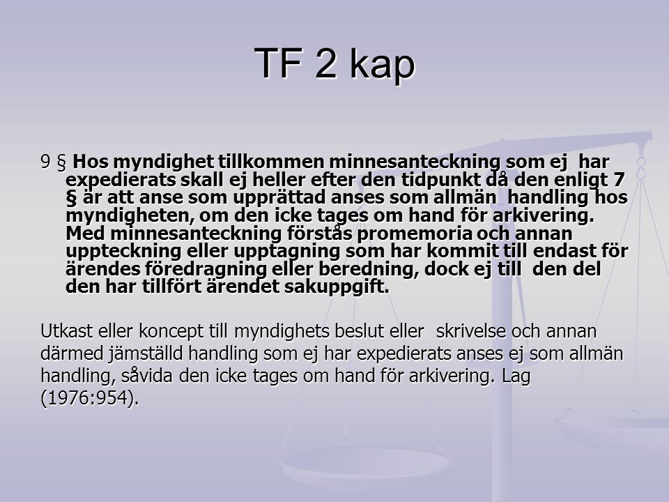 TF 2 kap 9 § Hos myndighet tillkommen minnesanteckning som ej har expedierats skall ej heller efter den tidpunkt då den enligt 7 § är att anse som upp