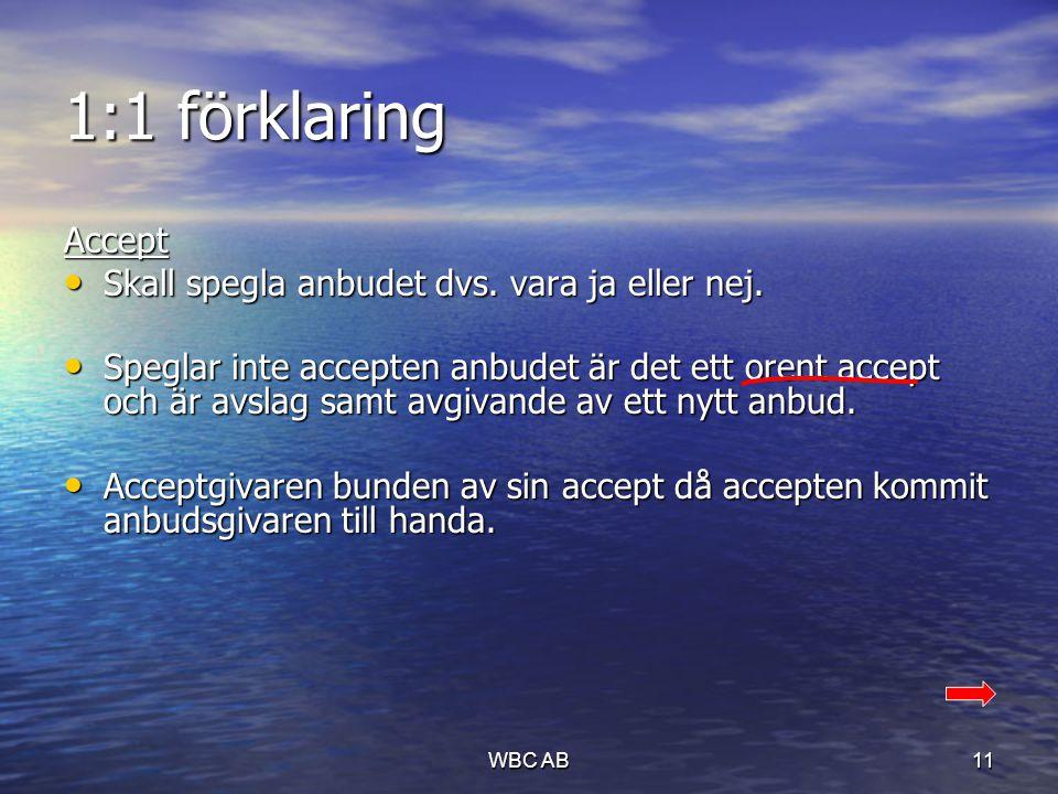 1:1 förklaring Accept • Skall spegla anbudet dvs. vara ja eller nej. • Speglar inte accepten anbudet är det ett orent accept och är avslag samt avgiva