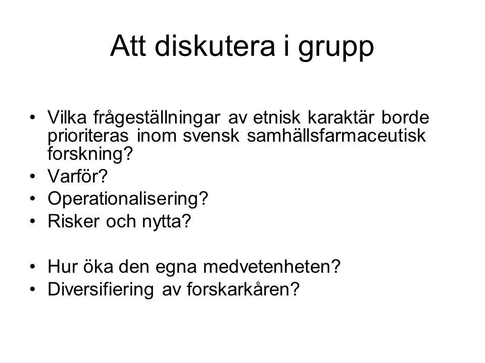 Att diskutera i grupp •Vilka frågeställningar av etnisk karaktär borde prioriteras inom svensk samhällsfarmaceutisk forskning? •Varför? •Operationalis