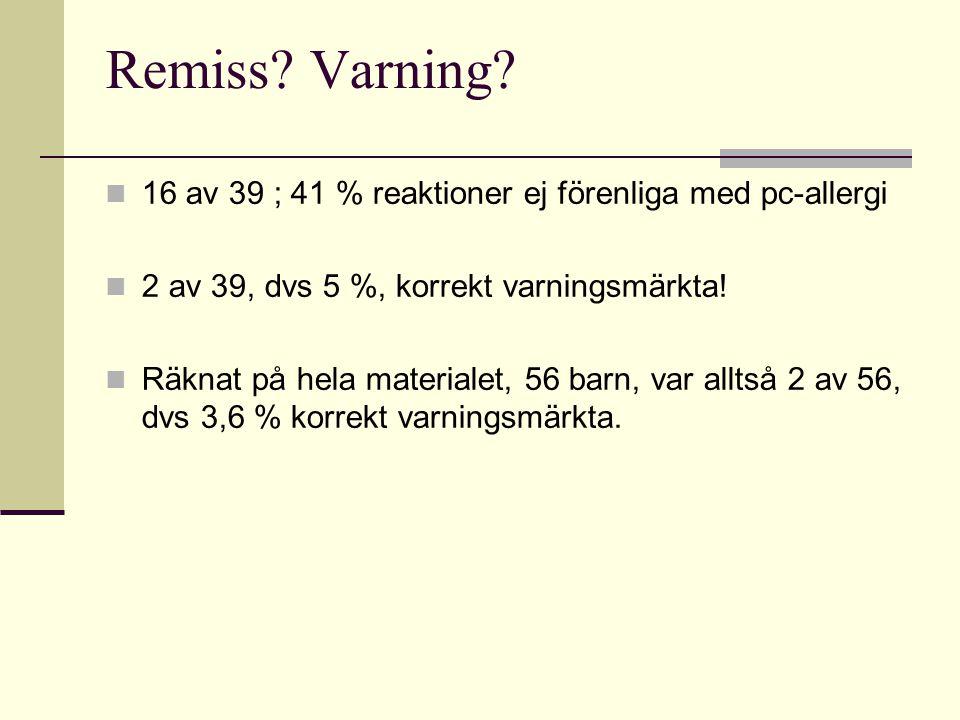 Remiss? Varning?  16 av 39 ; 41 % reaktioner ej förenliga med pc-allergi  2 av 39, dvs 5 %, korrekt varningsmärkta!  Räknat på hela materialet, 56