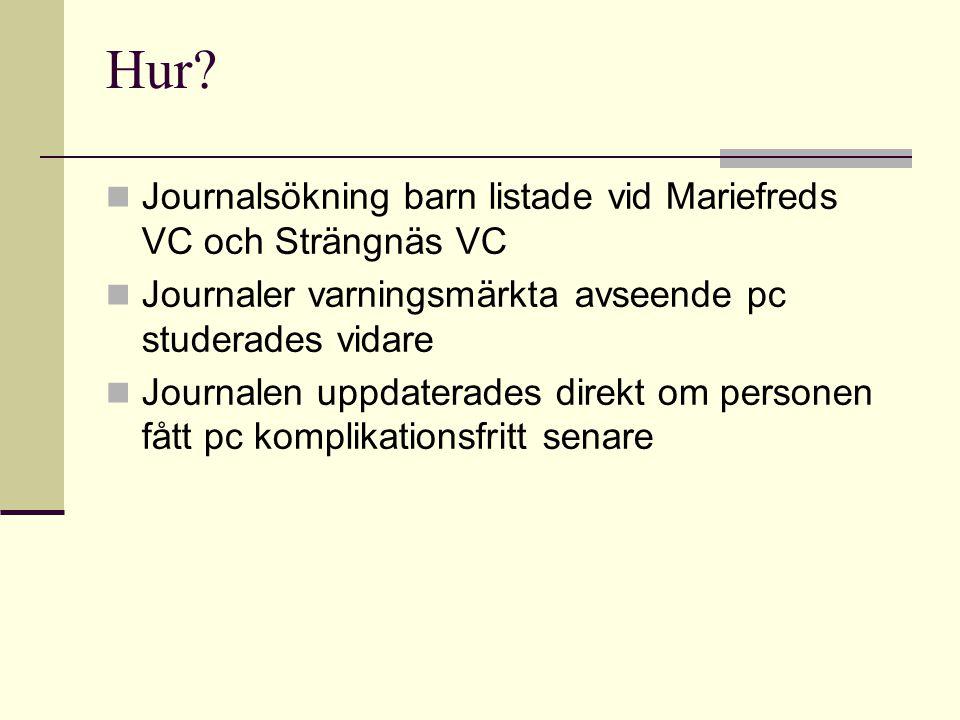 Hur?  Journalsökning barn listade vid Mariefreds VC och Strängnäs VC  Journaler varningsmärkta avseende pc studerades vidare  Journalen uppdaterade