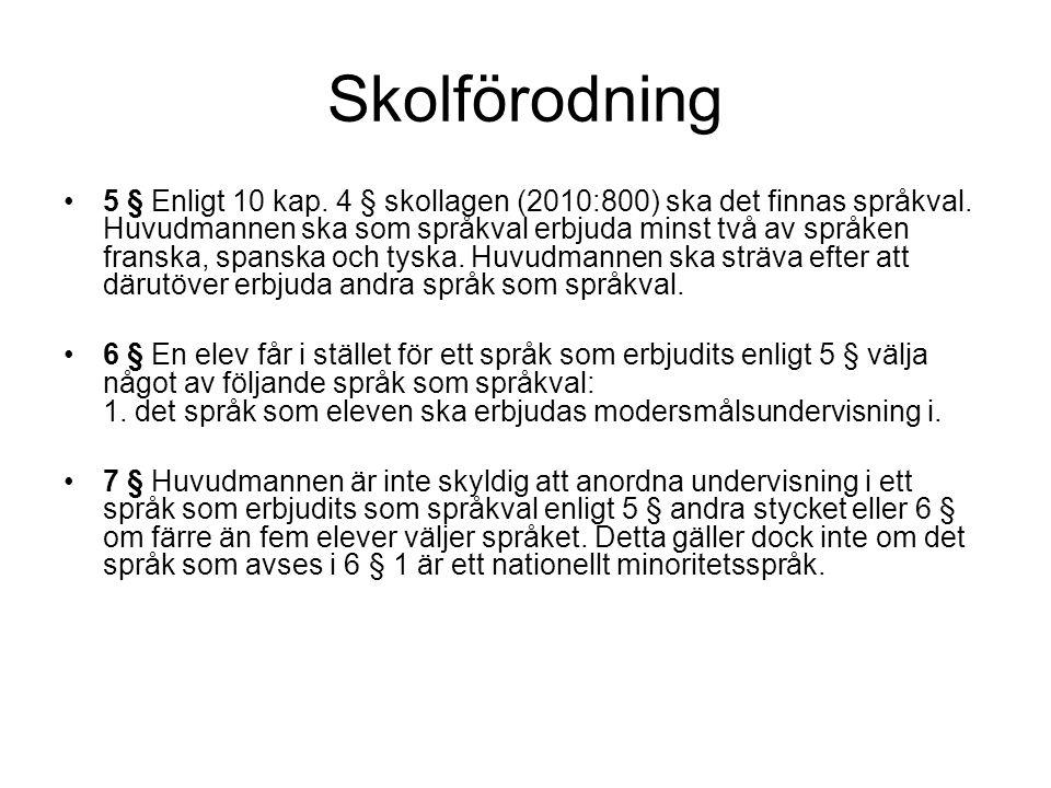 Skolförodning •5 § Enligt 10 kap.4 § skollagen (2010:800) ska det finnas språkval.