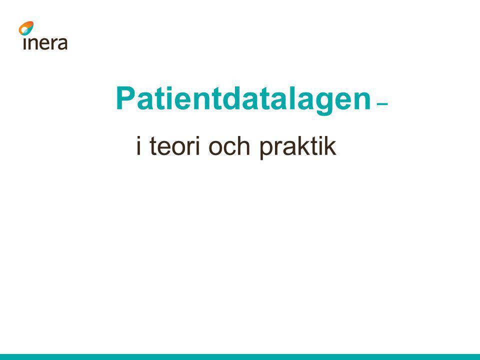 Länkar Datainspektionen (FAQ om PdL): http://www.datainspektionen.se/fragor-och-svar/faq-patientdatalagen/ Dokumentarkiv Cehis (sök på säkerhetsarkitektur): http://www.cehis.se HSA –behörighetsstyrning: http://inera.se/Infrastrukturtjanster/HSA/Behorighetsgrundade-egenskaper-i-HSA/ http://inera.se/Infrastrukturtjanster/HSA/Behorighetsgrundade-egenskaper-i-HSA/ Patriks utredning – direktiv 2011:111 http://www.regeringen.se/sb/d/14011/a/183000 http://www.regeringen.se/sb/d/14011/a/183000