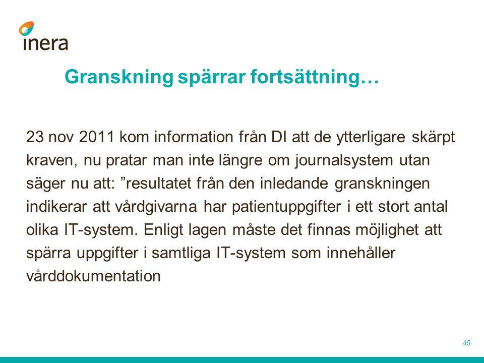 Granskning spärrar fortsättning… 23 nov 2011 kom information från DI att de ytterligare skärpt kraven, nu pratar man inte längre om journalsystem utan