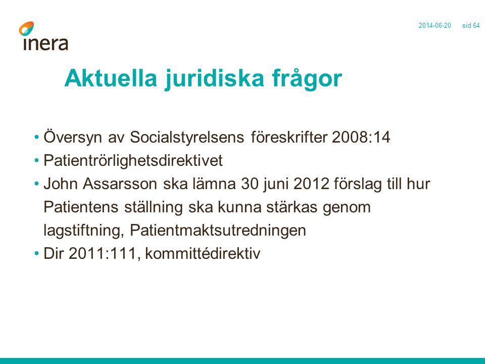 Aktuella juridiska frågor •Översyn av Socialstyrelsens föreskrifter 2008:14 •Patientrörlighetsdirektivet •John Assarsson ska lämna 30 juni 2012 försla