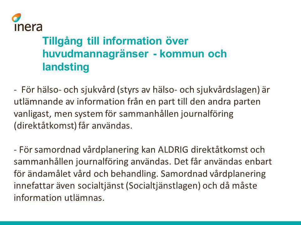 Tillgång till information över huvudmannagränser - kommun och landsting - För hälso- och sjukvård (styrs av hälso- och sjukvårdslagen) är utlämnande a