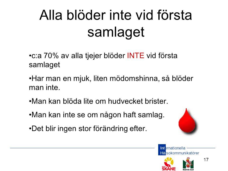 Internationella Hälsokommunikatörer 17 Alla blöder inte vid första samlaget •c:a 70% av alla tjejer blöder INTE vid första samlaget •Har man en mjuk, liten mödomshinna, så blöder man inte.