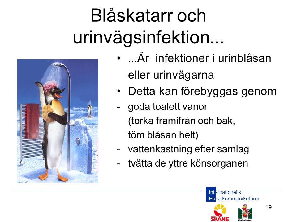 Internationella Hälsokommunikatörer 19 Blåskatarr och urinvägsinfektion... •...Är infektioner i urinblåsan eller urinvägarna •Detta kan förebyggas gen