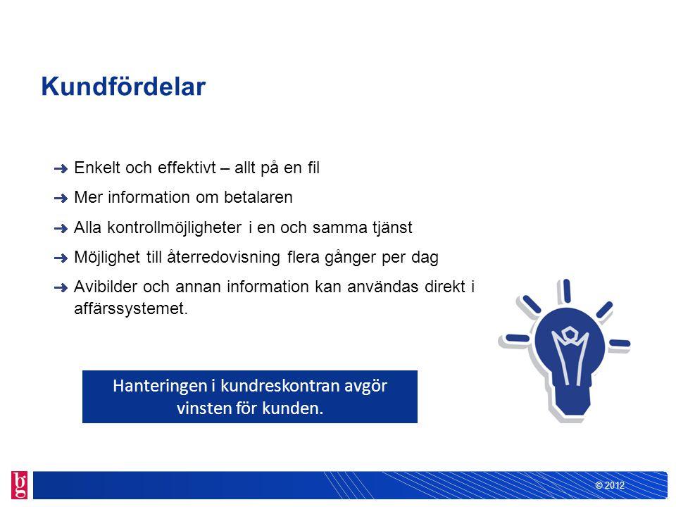 © 2012 Kundfördelar Enkelt och effektivt – allt på en fil Mer information om betalaren Alla kontrollmöjligheter i en och samma tjänst Möjlighet till å