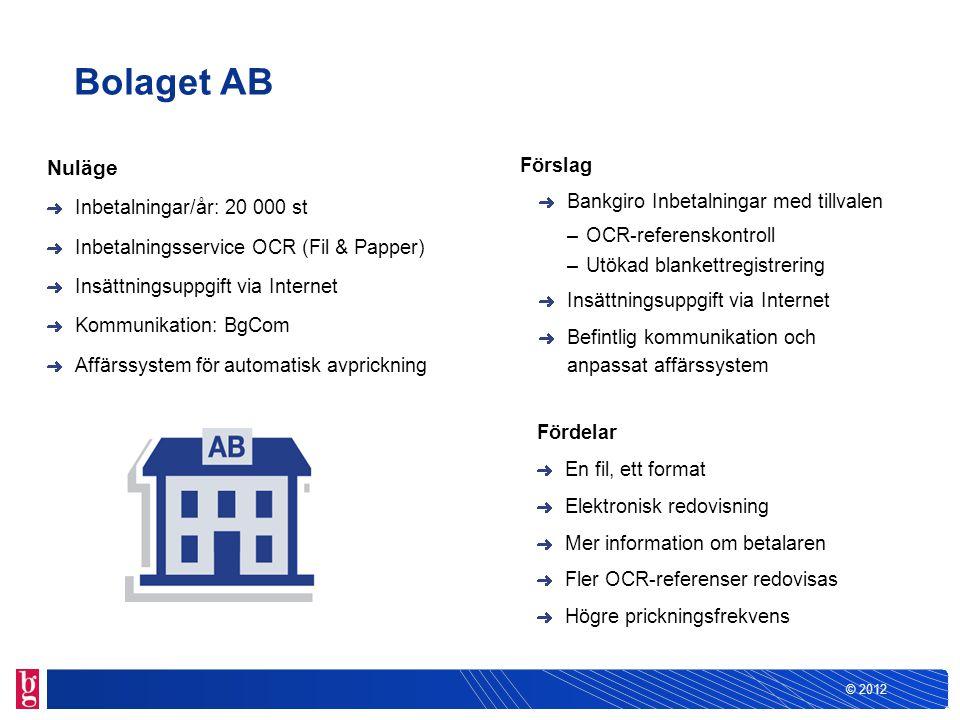© 2012 Bolaget AB Förslag Bankgiro Inbetalningar med tillvalen –OCR-referenskontroll –Utökad blankettregistrering Insättningsuppgift via Internet Befi