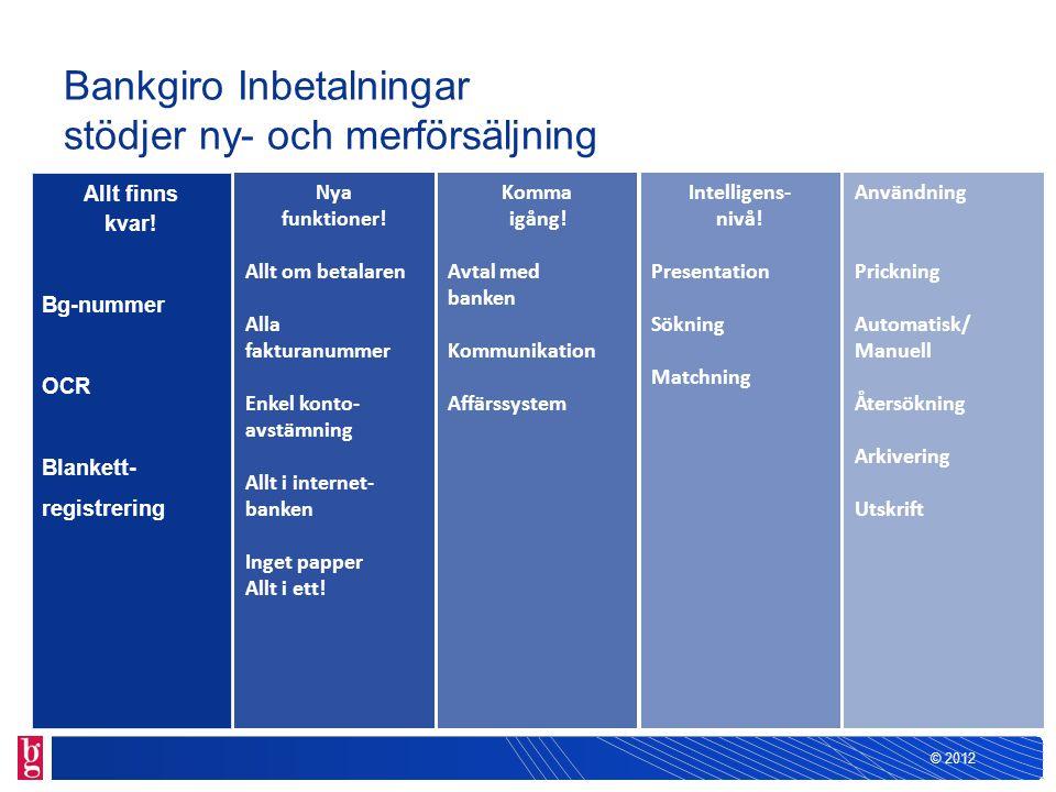 Bankgiro Inbetalningar stödjer ny- och merförsäljning Allt finns kvar! Bg-nummer OCR Blankett- registrering Nya funktioner! Allt om betalaren Alla fak
