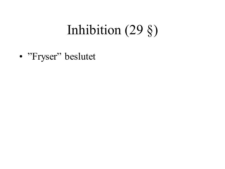"""Inhibition (29 §) •""""Fryser"""" beslutet"""