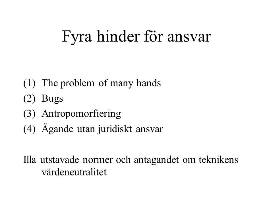Fyra hinder för ansvar (1)The problem of many hands (2)Bugs (3)Antropomorfiering (4)Ägande utan juridiskt ansvar Illa utstavade normer och antagandet om teknikens värdeneutralitet
