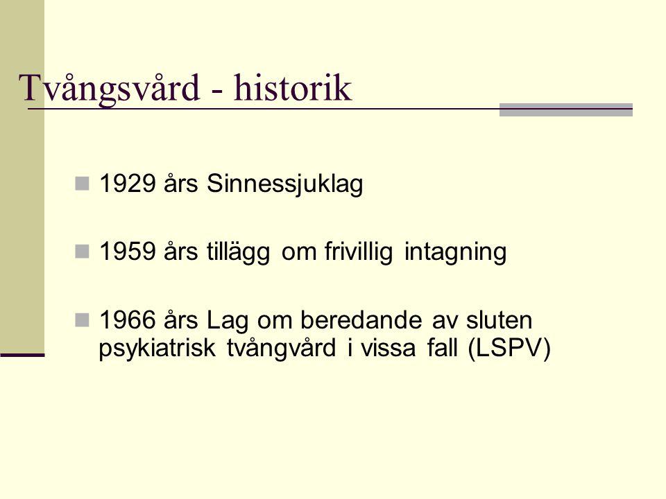 Tvångsvård - historik  1929 års Sinnessjuklag  1959 års tillägg om frivillig intagning  1966 års Lag om beredande av sluten psykiatrisk tvångvård i