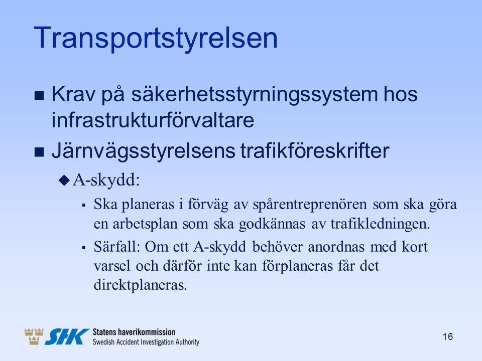 Transportstyrelsen n Krav på säkerhetsstyrningssystem hos infrastrukturförvaltare n Järnvägsstyrelsens trafikföreskrifter u A-skydd:  Ska planeras i