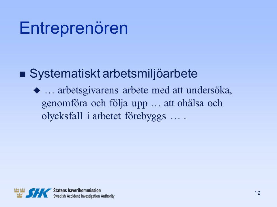 Entreprenören n Systematiskt arbetsmiljöarbete u … arbetsgivarens arbete med att undersöka, genomföra och följa upp … att ohälsa och olycksfall i arbe