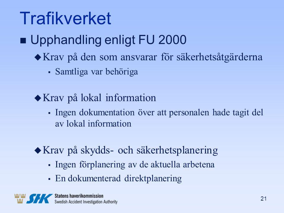 Trafikverket n Upphandling enligt FU 2000 u Krav på den som ansvarar för säkerhetsåtgärderna  Samtliga var behöriga u Krav på lokal information  Ing