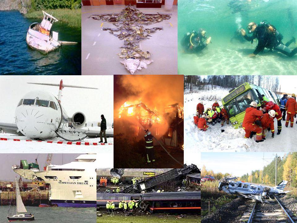 Olyckskategorier – 2 § LUO n Luftfartsolyckor n Sjöolyckor n Järnvägsolyckor n Vägtrafikolyckor och andra allvarliga olyckor n (Militära olyckor)