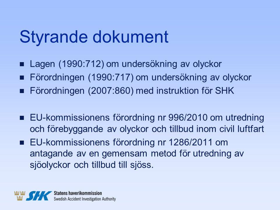 Styrande dokument n Lagen (1990:712) om undersökning av olyckor n Förordningen (1990:717) om undersökning av olyckor n Förordningen (2007:860) med ins