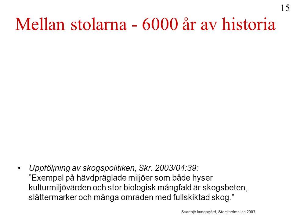 """Mellan stolarna - 6000 år av historia •Uppföljning av skogspolitiken, Skr. 2003/04:39: """"Exempel på hävdpräglade miljöer som både hyser kulturmiljövärd"""