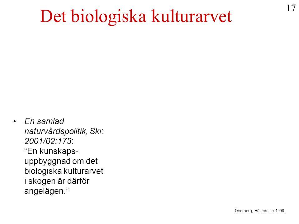 """•En samlad naturvårdspolitik, Skr. 2001/02:173: """"En kunskaps- uppbyggnad om det biologiska kulturarvet i skogen är därför angelägen."""" Det biologiska k"""