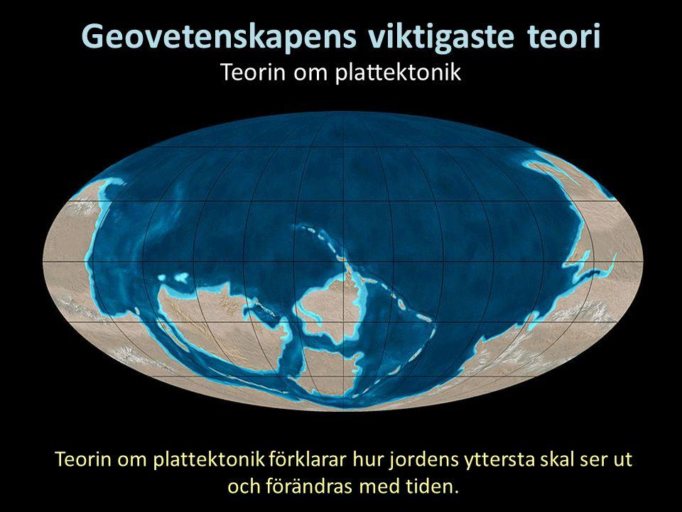 Geovetenskapens viktigaste teori Teorin om plattektonik Teorin om plattektonik förklarar hur jordens yttersta skal ser ut och förändras med tiden.