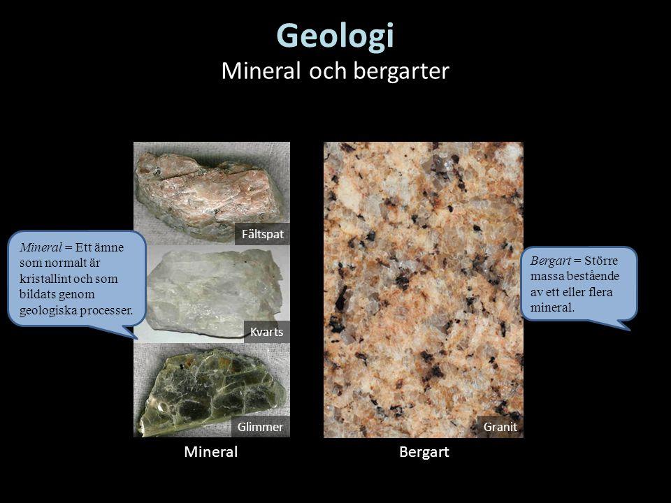 MineralBergart Fältspat Kvarts Glimmer Granit Mineral och bergarter Geologi Bergart = Större massa bestående av ett eller flera mineral. Mineral = Ett