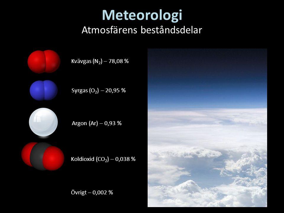 Meteorologi Atmosfärens beståndsdelar Kvävgas (N 2 ) – 78,08 % Syrgas (O 2 ) – 20,95 % Argon (Ar) – 0,93 % Koldioxid (CO 2 ) – 0,038 % Övrigt – 0,002