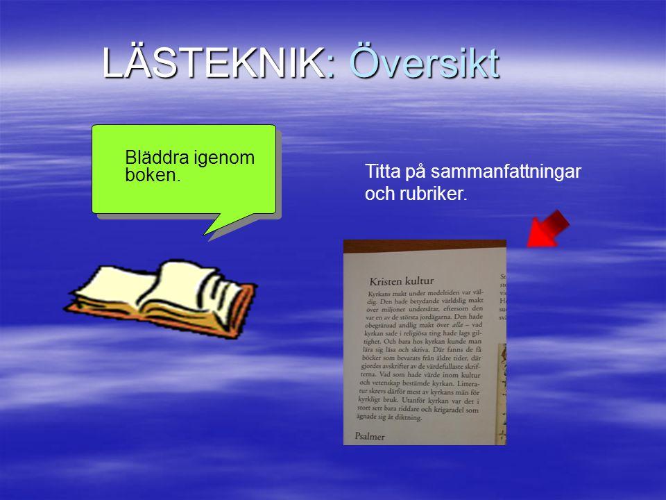 LÄSTEKNIK: Översikt Bläddra igenom boken. Titta på sammanfattningar och rubriker.