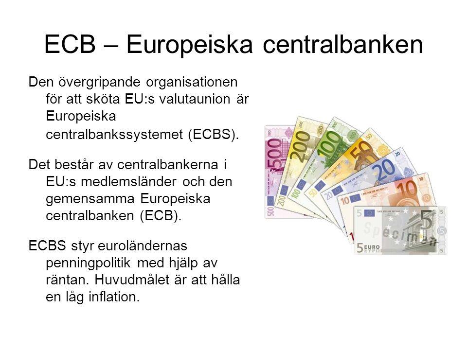 ECB – Europeiska centralbanken Den övergripande organisationen för att sköta EU:s valutaunion är Europeiska centralbankssystemet (ECBS).