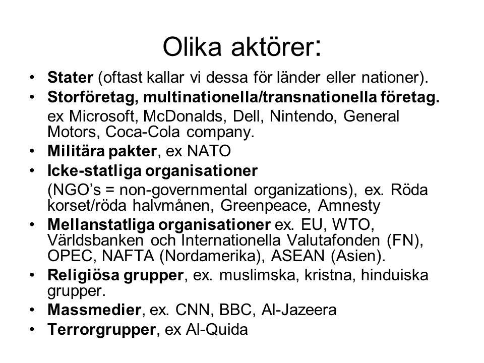 Olika aktörer : •Stater (oftast kallar vi dessa för länder eller nationer).