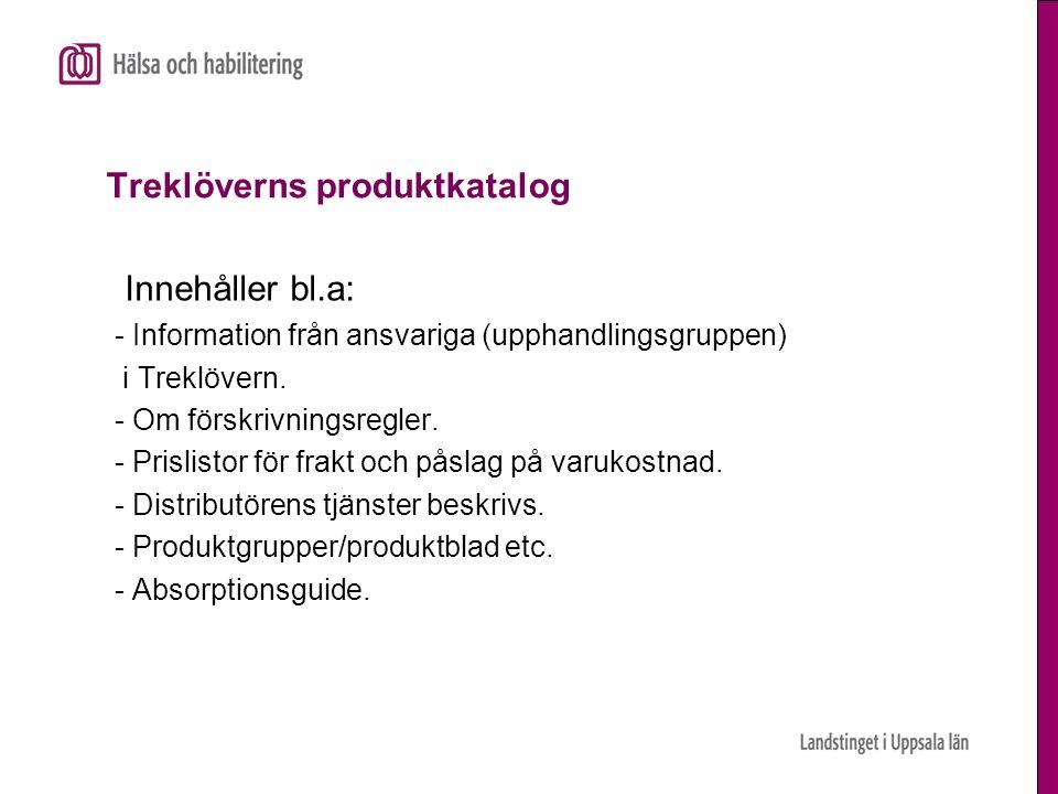 Treklöverns produktkatalog Innehåller bl.a: - Information från ansvariga (upphandlingsgruppen) i Treklövern. - Om förskrivningsregler. - Prislistor fö