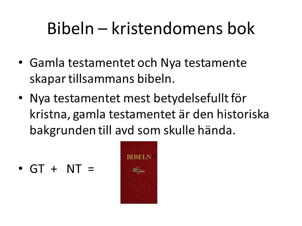 Bibeln – kristendomens bok • Gamla testamentet och Nya testamente skapar tillsammans bibeln.