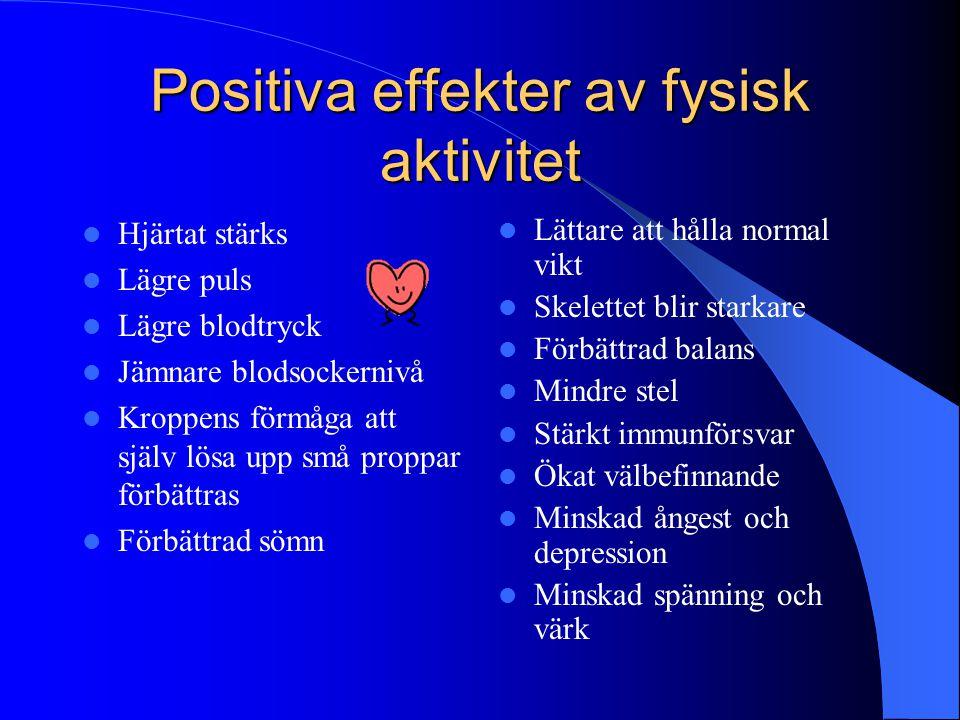 Positiva effekter av fysisk aktivitet  Hjärtat stärks  Lägre puls  Lägre blodtryck  Jämnare blodsockernivå  Kroppens förmåga att själv lösa upp s