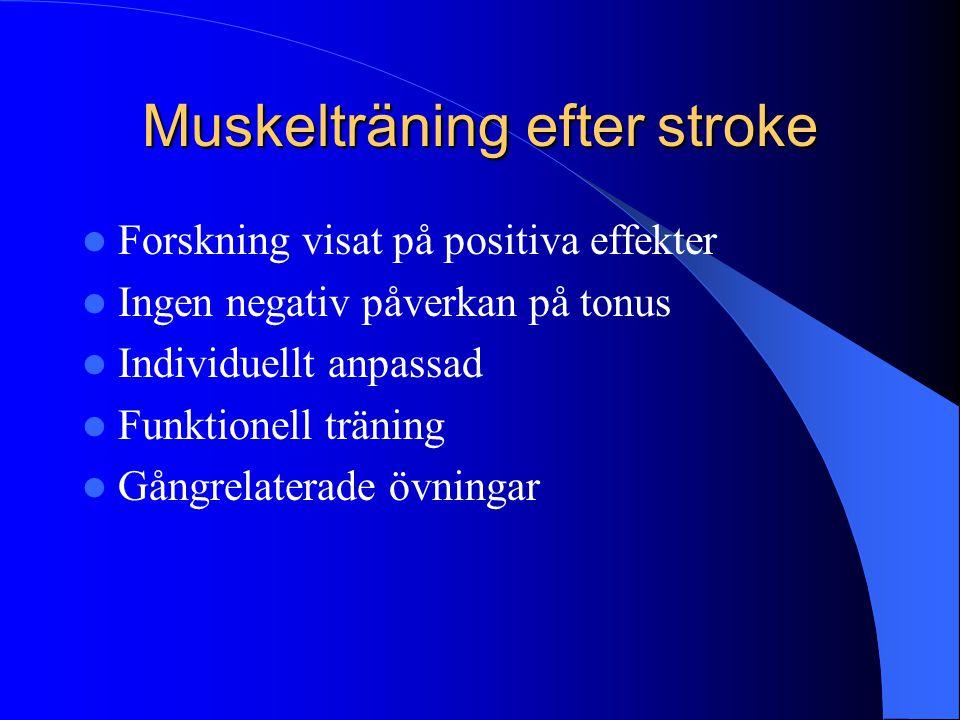 Muskelträning efter stroke  Forskning visat på positiva effekter  Ingen negativ påverkan på tonus  Individuellt anpassad  Funktionell träning  Gångrelaterade övningar