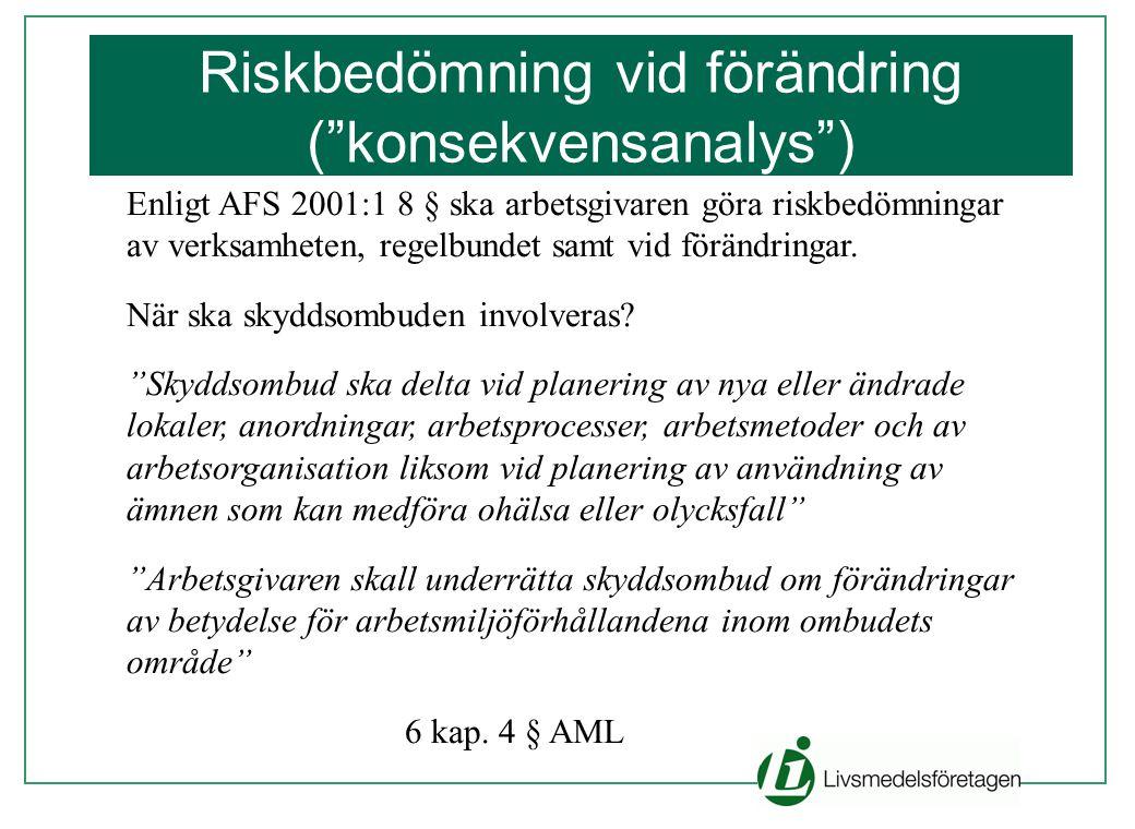 """Enligt AFS 2001:1 8 § ska arbetsgivaren göra riskbedömningar av verksamheten, regelbundet samt vid förändringar. När ska skyddsombuden involveras? """"Sk"""