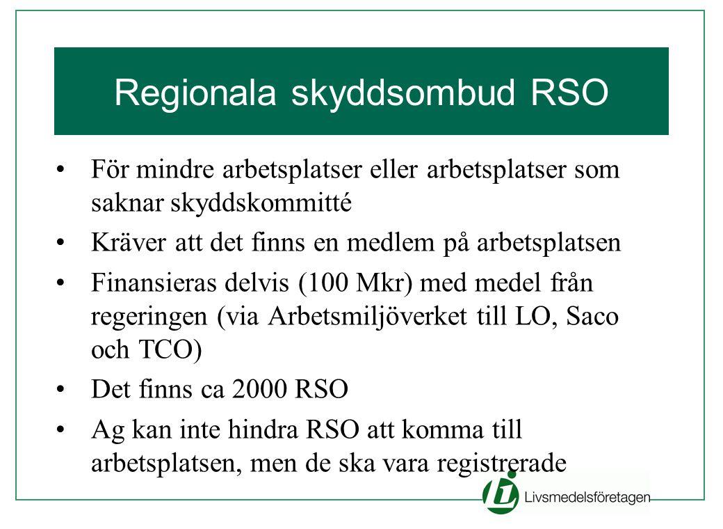 Regionala skyddsombud RSO •För mindre arbetsplatser eller arbetsplatser som saknar skyddskommitté •Kräver att det finns en medlem på arbetsplatsen •Fi