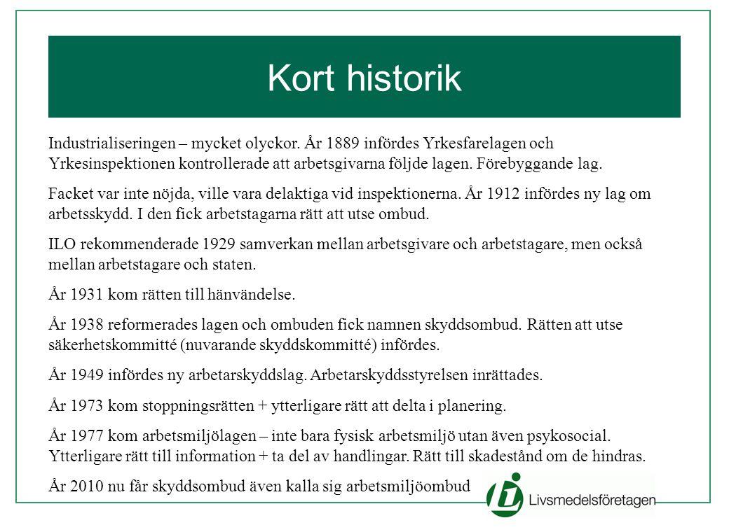 Kort historik Industrialiseringen – mycket olyckor. År 1889 infördes Yrkesfarelagen och Yrkesinspektionen kontrollerade att arbetsgivarna följde lagen