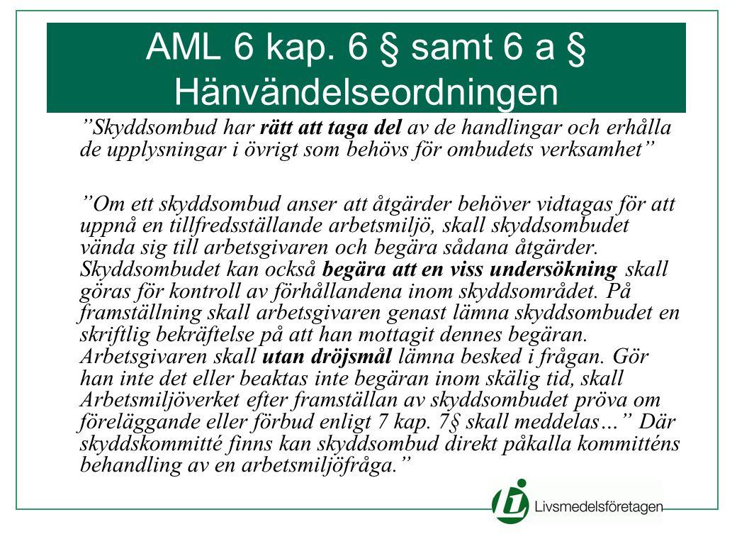 """AML 6 kap. 6 § samt 6 a § Hänvändelseordningen """"Skyddsombud har rätt att taga del av de handlingar och erhålla de upplysningar i övrigt som behövs för"""