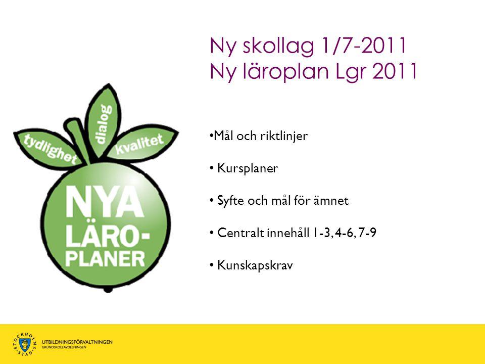 • Mål och riktlinjer • Kursplaner • Syfte och mål för ämnet • Centralt innehåll 1-3, 4-6, 7-9 • Kunskapskrav Ny skollag 1/7-2011 Ny läroplan Lgr 2011