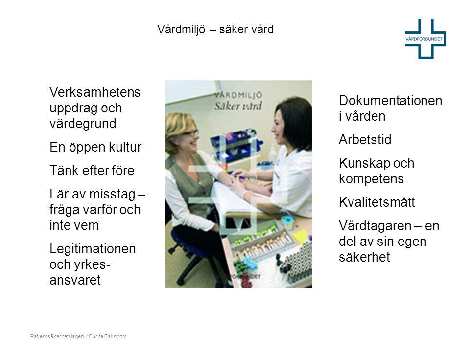 Patientsäkerhetslagen / Carita Fallström Verksamhetens uppdrag och värdegrund En öppen kultur Tänk efter före Lär av misstag – fråga varför och inte v