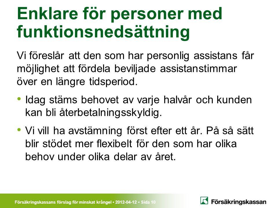 Försäkringskassans förslag för minskat krångel • 2012-04-12 • Sida 10 Enklare för personer med funktionsnedsättning Vi föreslår att den som har person
