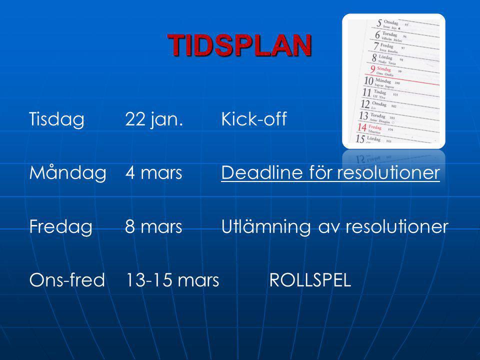 TIDSPLAN Tisdag 22 jan.Kick-off Måndag4 marsDeadline för resolutioner Fredag 8 marsUtlämning av resolutioner Ons-fred 13-15 marsROLLSPEL