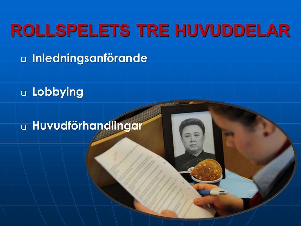 ROLLSPELETS TRE HUVUDDELAR  Inledningsanförande  Lobbying  Huvudförhandlingar