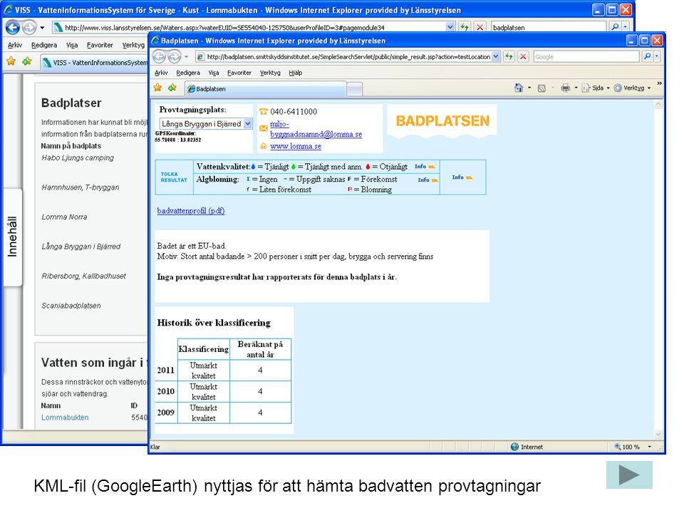 KML-fil (GoogleEarth) nyttjas för att hämta badvatten provtagningar