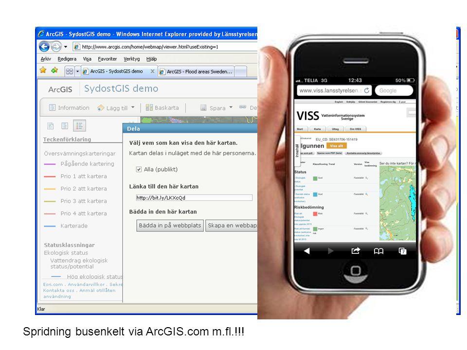 ArcGIS länk samt VISS kartan länk Spridning busenkelt via ArcGIS.com m.fl.!!!