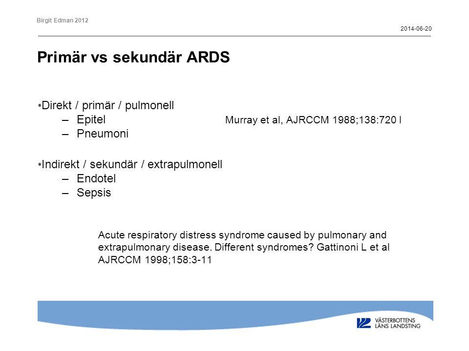 Birgit Edman 2012 Primär vs sekundär ARDS Radiologi •Primär –Diffus interstitiella och alveolära infiltrat –Ingen / lite atelektas •Sekundär –Gravitationsberoende atelektaser 2014-06-20