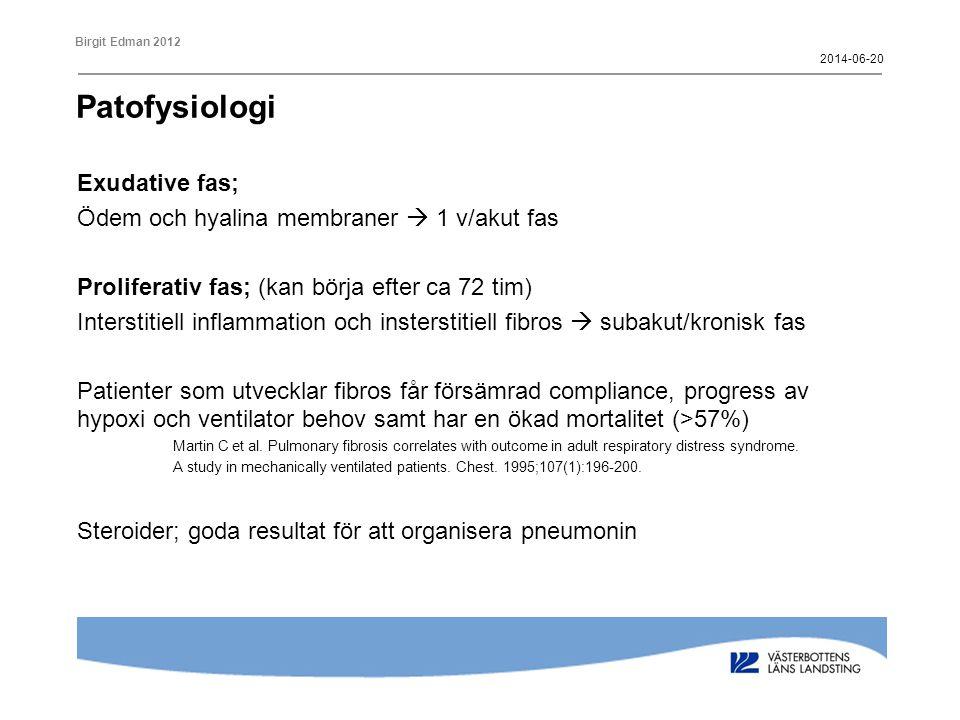 Birgit Edman 2012 ARDS Ett klinisk syndrom av lungskada med hypoxisk andningssvikt orsakad av pulmonell inflammation som utvecklas efter en svår fysiologisk påverkan.